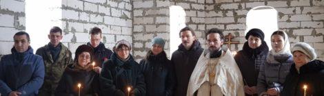 Молебен в строящемся Иоанно-Предтеченском храме г. Рошаль